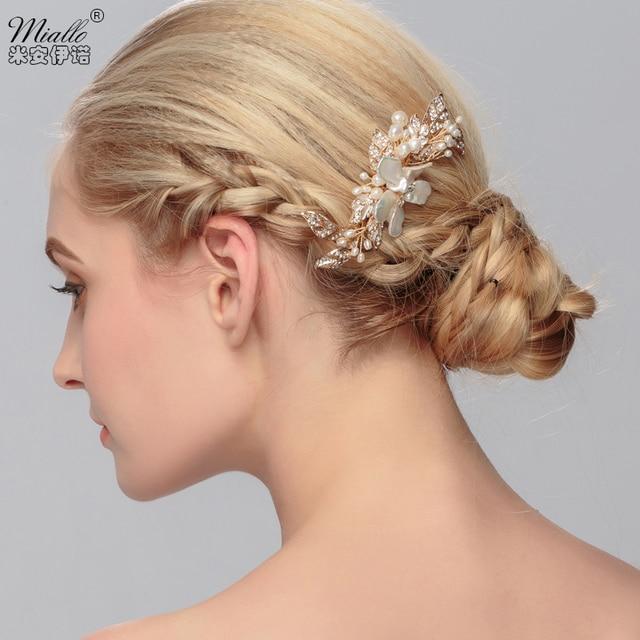 Shell Hair Comb Leaf Crystal Pearl Rhinestones Bridal Bridemaid Hairdress Handmade Wedding Accessories Head Jewelry Gold Plated
