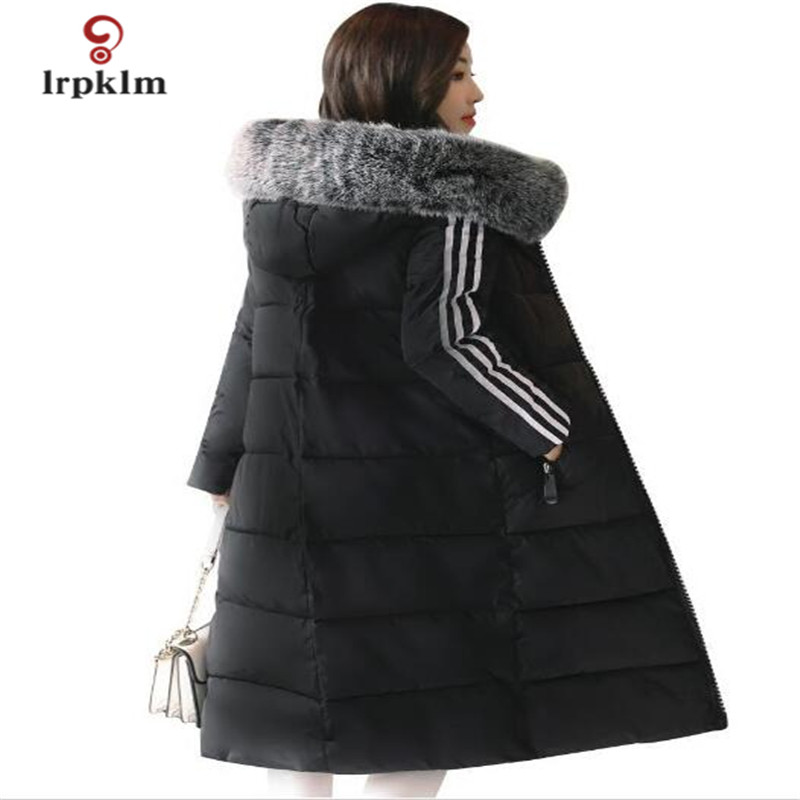 2017 New Female Long Winter Parkas Thick Women Fur Collar Hooded Cotton Padded Coat Fashion Slim Outerwear Black Red Grey PQ008 akslxdmmd parkas winter women jacket 2017 new fashion rabbit fur collar hooded thick padded cotton mid long coat female lh1073