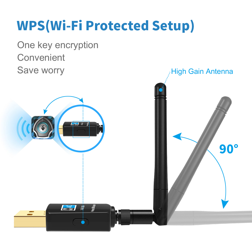 Suntrsi USB WiFi Adapter With External High Speed 600Mbps Mini WiFi Dongle Wireless Network Card 802.11ac Free Shipping