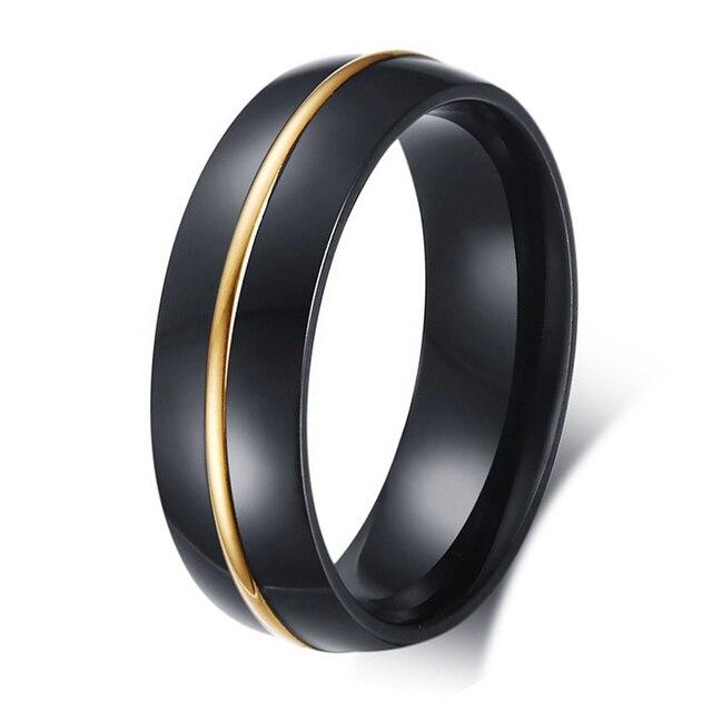 Aliexpresscom Buy 6MM Mens Black Titanium Steel Ring Gold Line