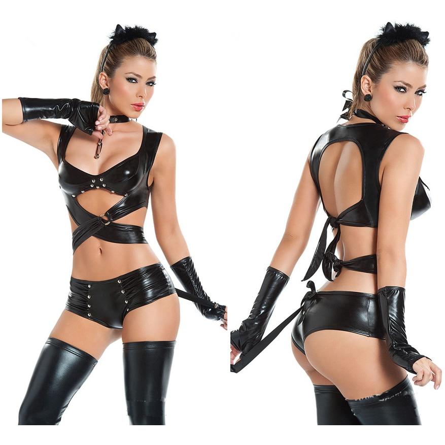 Men/'s /& Women/'s Halloween Party Costumes Catsuit PVC Wet Look Metallic Club Wear