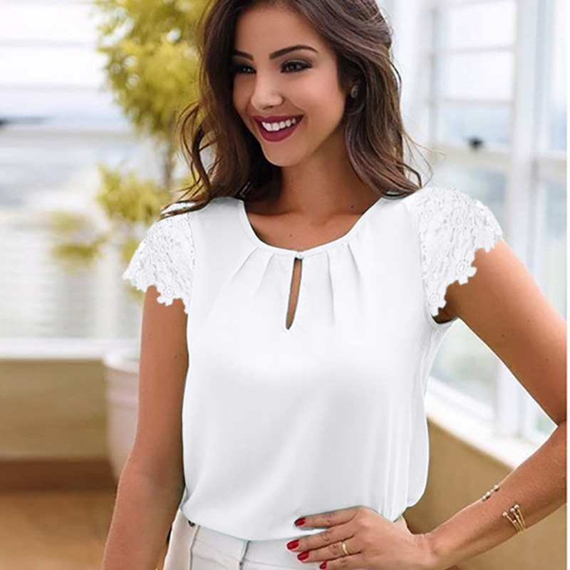 Blouses & Shirts Vieunsta Sexy V-neck Lace Stitching Chiffon Blouse Women Shirt 2019 Fashion Sleeveless Strap Vest Blouses Summer Streetwear Tops