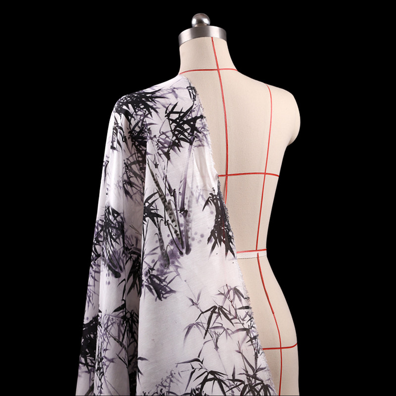 SLK09 50X140CM Summer Chinese Ink Bamboo Printed Cotton Fabric For Women Dress 2018 Silk ...