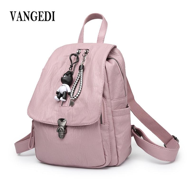 Fashion Backpack Women PU Leather Backpack Black Bolsas Mochila Feminina Large Girl Schoolbag Travel Bag with