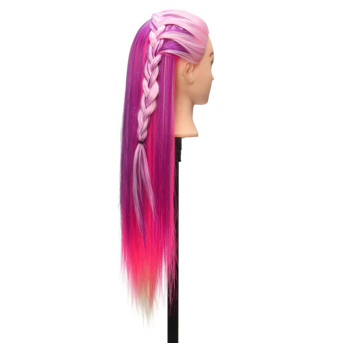 "27"" Purple & Pink Professional Salon Practice Head colorful High Temperature Fiber Hair Model Hairdressing Mannequin"