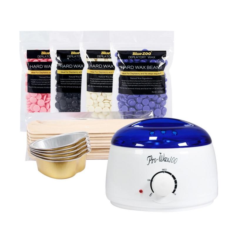4pcs/set 100g Wax Beans Wax Heater Wax Stickers Hair Removal Sets Wax Melting Machine Beauty Safe And Secure Epilator цена и фото