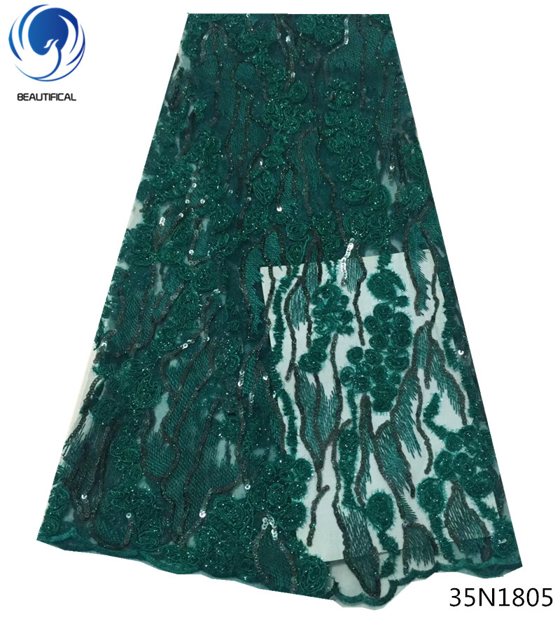 Belle dentelle de paillettes africain vert africain dentelle tissus français mariée dentelle française tissu 5yards paillettes brillant type 35N18