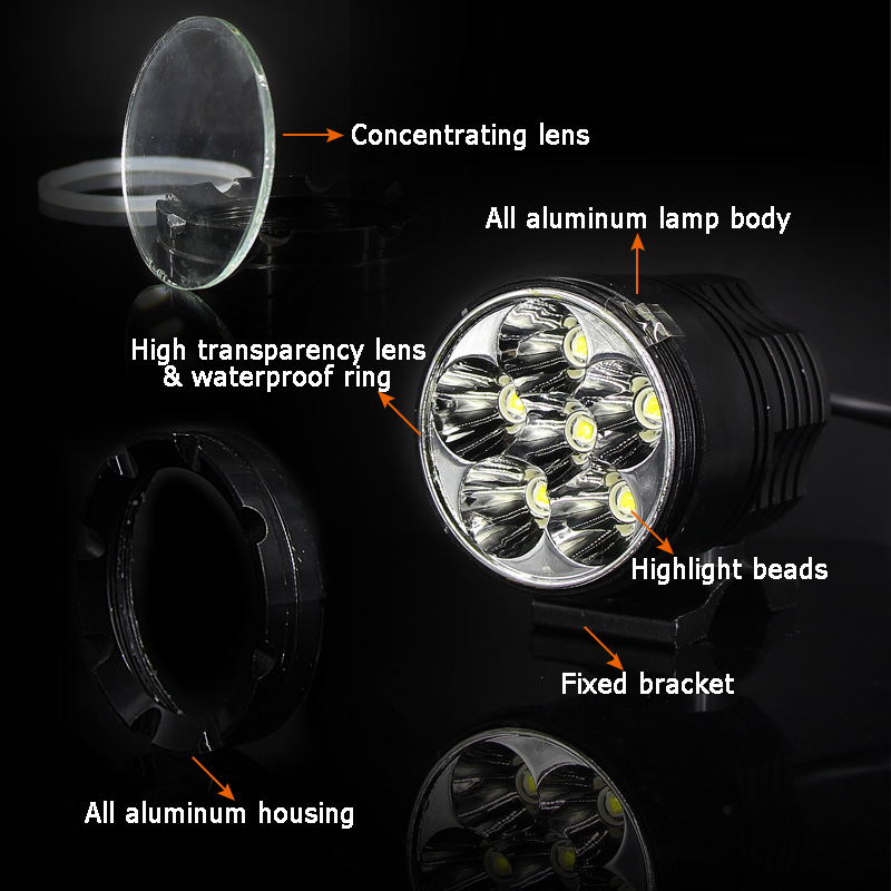 LED Mini Motorcycle bicycle Headlight fog lights lamp Auxiliary driving Motorbike High Brightness DRL bulb white 6000k switch