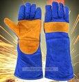 Guantes de soldadura de cuero guantes largos de soldadura soldador de calor-aislamiento de seguridad de trabajo guantes espesan guantes de protección resistente al calor