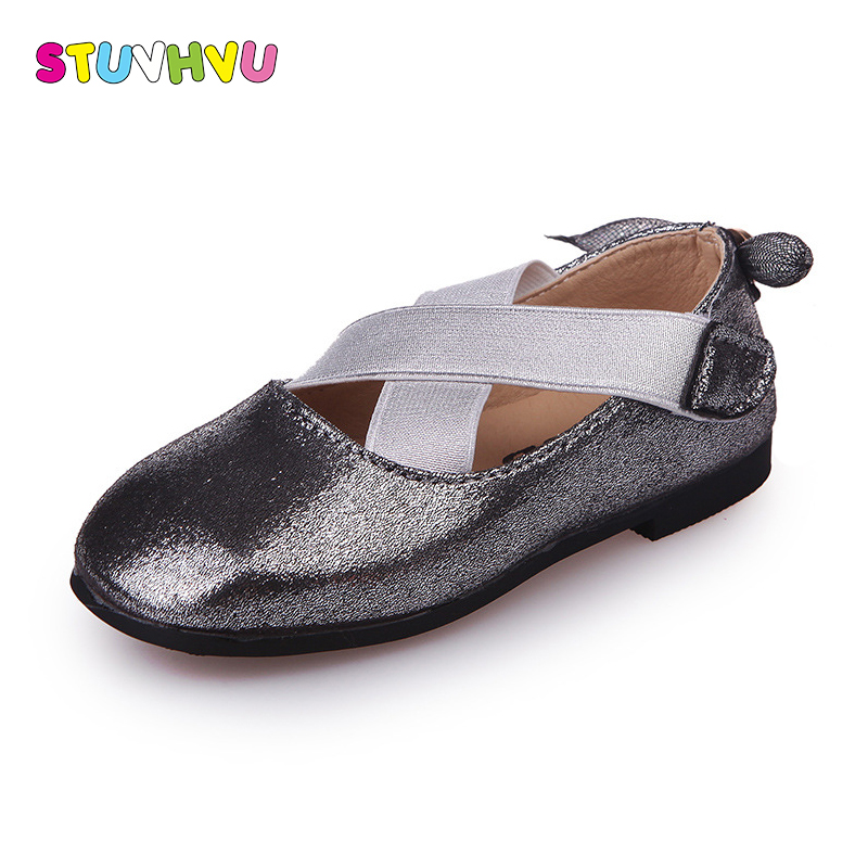 Girls dance shoes fashion children leather shallow mouth soft bottom comfortable shoes sequins bow-tie kids casual rubber shoes