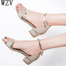 2019 Summer Women Sandals Peep Toe Ladies Low Heel Buckle Sandals