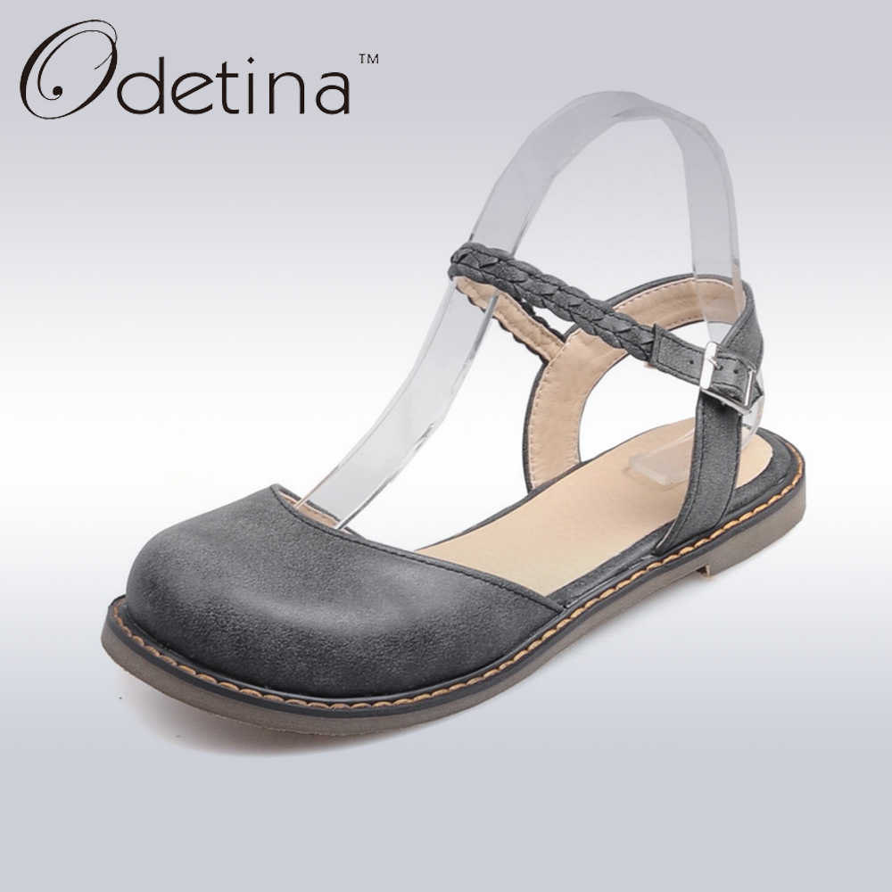 328017a68393 Odetina New Fashion Women Buckle Strap Mary Jane Flat Shoes Casual Round  Toe Sweet Slingback Ballet