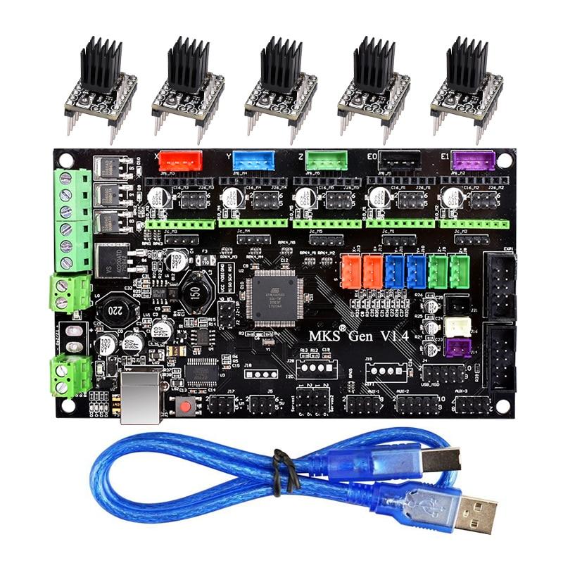 3D impresora MKS Gen V1.4 Control Mega 2560 R3 motherboard RepRap Ramps1.4 + TMC2100/TMC2130/TMC2208 /DRV8825 conductor
