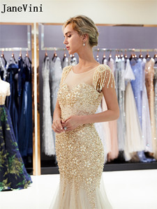 Image 4 - JaneVini Luxe Gold Lange Prom Dresses 2019 Kralen Crystal Mermaid Gala Avondjurk jurk lang Steentjes Parel Partij Jassen