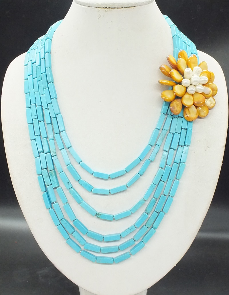 Turkish semi-precious stones and sea shells, hand-woven classic necklaces. Best gift for girlfriend