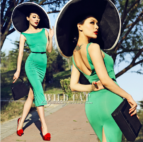 FREE SHIPPING WILD CAT vintage comfortable all match emerald big racerback tight fitting hip slim one