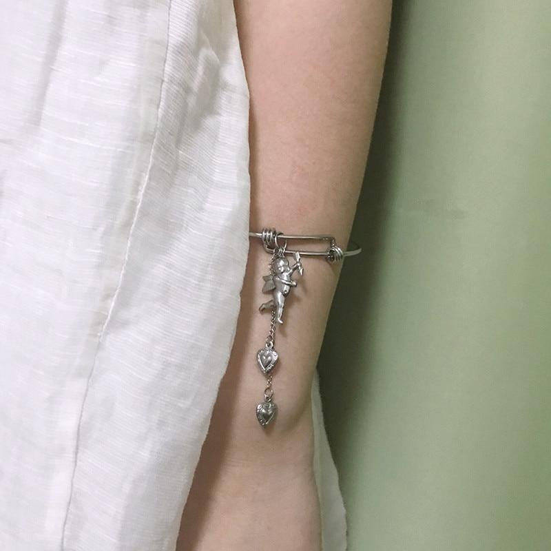 Punk Vintage Cupid Angel Love Bracelet Bracelet Cool Girl Disco Bracelet pulseras mujer moda 2019 in Bangles from Jewelry Accessories
