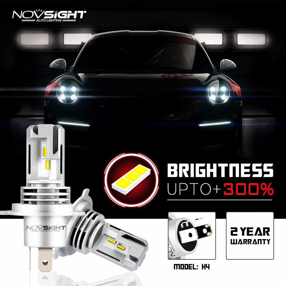NOVSIGHT ALL IN ONE Car Headlight H4 H7 H11 H8 LED Lights 55W 10000LM 6000K super bright LED Headlight Bulbs Super Long Lifespan