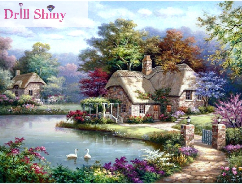 5D diy diamond painting house cottage landscape cross stitch wall sticker full square drill diamond ribbon embroidery crafts