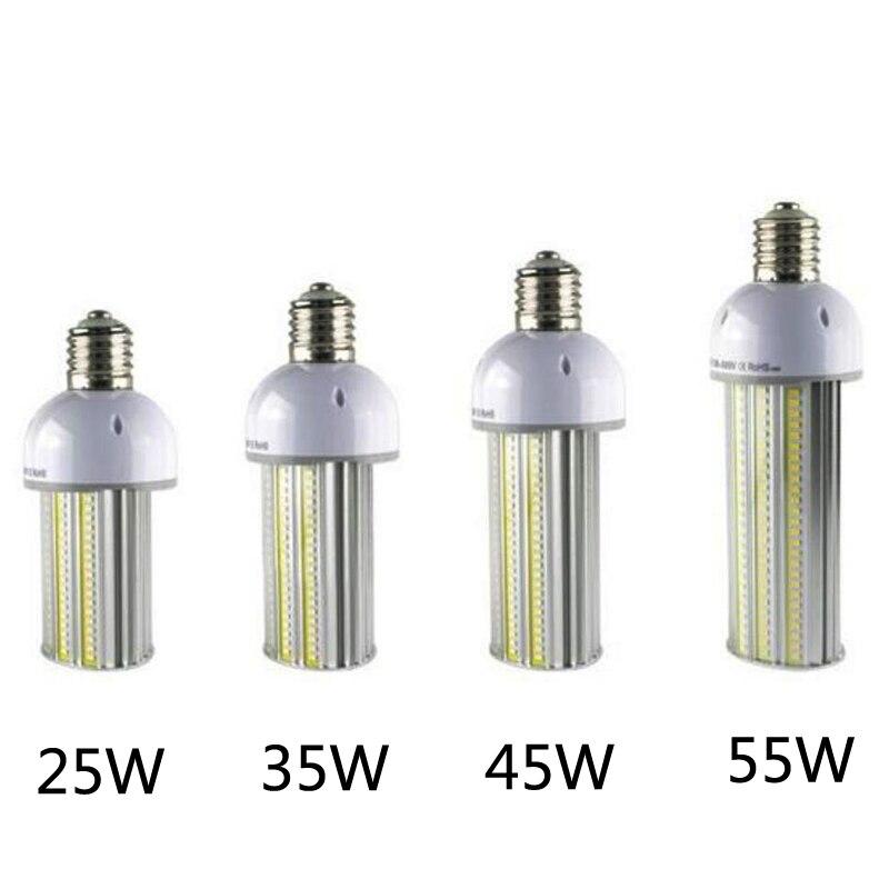 6 pcs/lot led ampoule de rue AC85-265V 25 w 35 w 45 w 55 W E27/E40 led led de lampadaire lumière de maïs led parking lot lumière 130LM/W