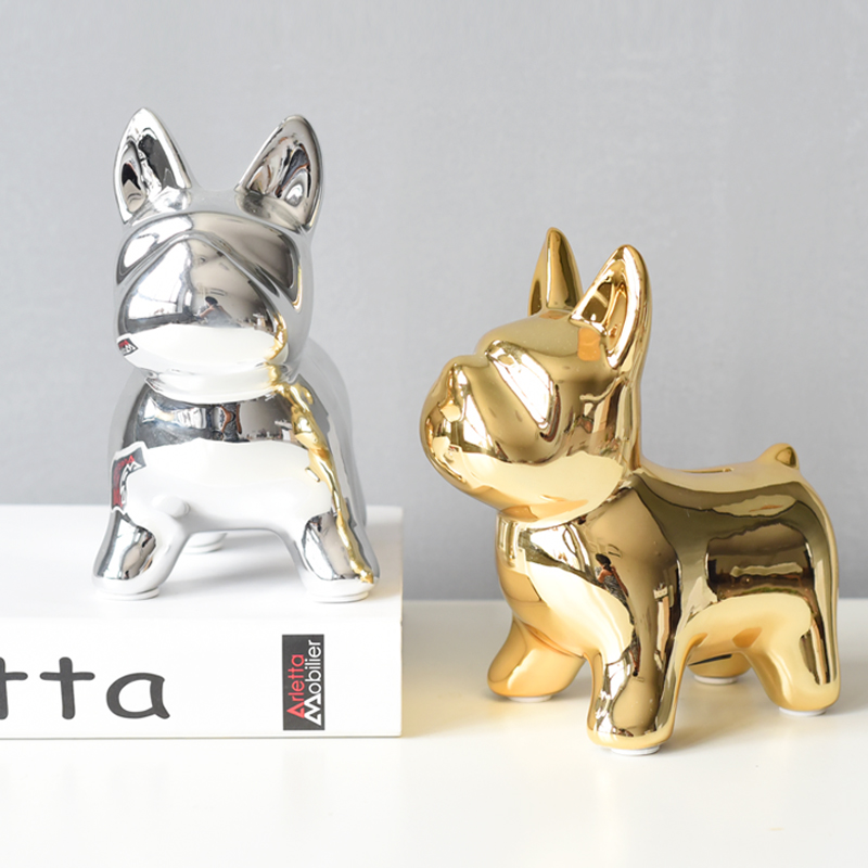 Nordic Home Decoration Gold Dog Figurine Ceramic Animal Ornaments Table Living Room Accessories Vanity Decor Birthday Gift Ideas in Figurines Miniatures from Home Garden