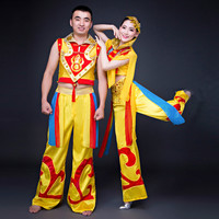 Adult Male And Female Clothing Costumes Drum Modern China Wind Ethnic Yangko Clothing Dragon And Lion