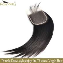 Double Draw Lace closure human hair Pre Plucked Closure Full Brazilian straight Remy Hair Color 1b Ross Pretty Brand