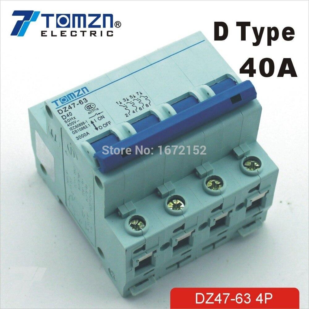 4P 40A D type 240V/415V Circuit breaker MCB 4 POLES4P 40A D type 240V/415V Circuit breaker MCB 4 POLES