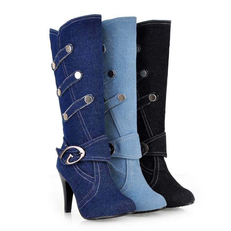 3 Colors Women's New Autumn Winter Denim Motorcycle Thin High Heel Long Metal Buckle Knee High Blue Martin Jeans Boots 7 B (M) U