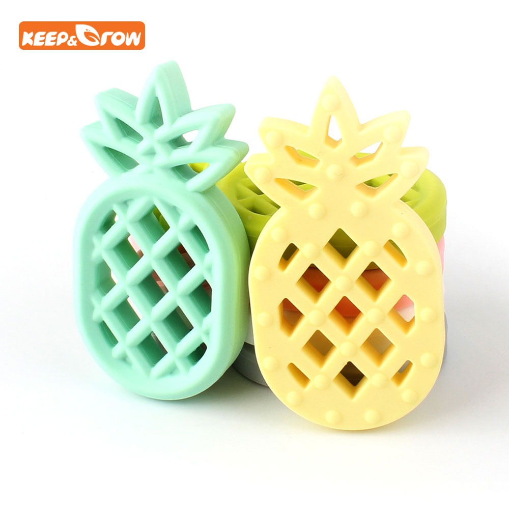 Keep&grown Pineapple Silicone Teether BPA Free Necklace Present Bijtring Pacifier Clips Soother Chain Baby Mordedor De Silicone