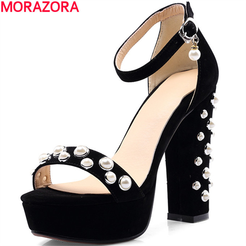 MORAZORA new arrival Large size 34-46 hot sale thick high heels open toe party shoes woman popular ankle strap women sandals red high heels women shoes open toe ankle strap blue sandals stiletto chic fringed party d orsay shoes ladies large size 16