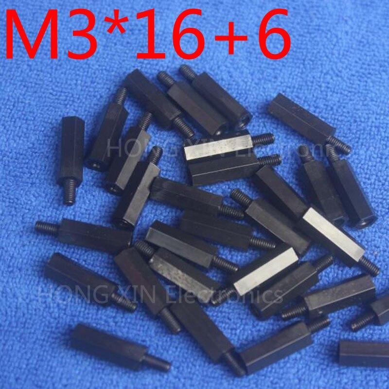 M3 * 16 + 6 1 pièces En Nylon Noir Entretoise Standard M3 Mâle-Femelle 16mm Entretoise Kit Kit De Réparation De Haute Qualité