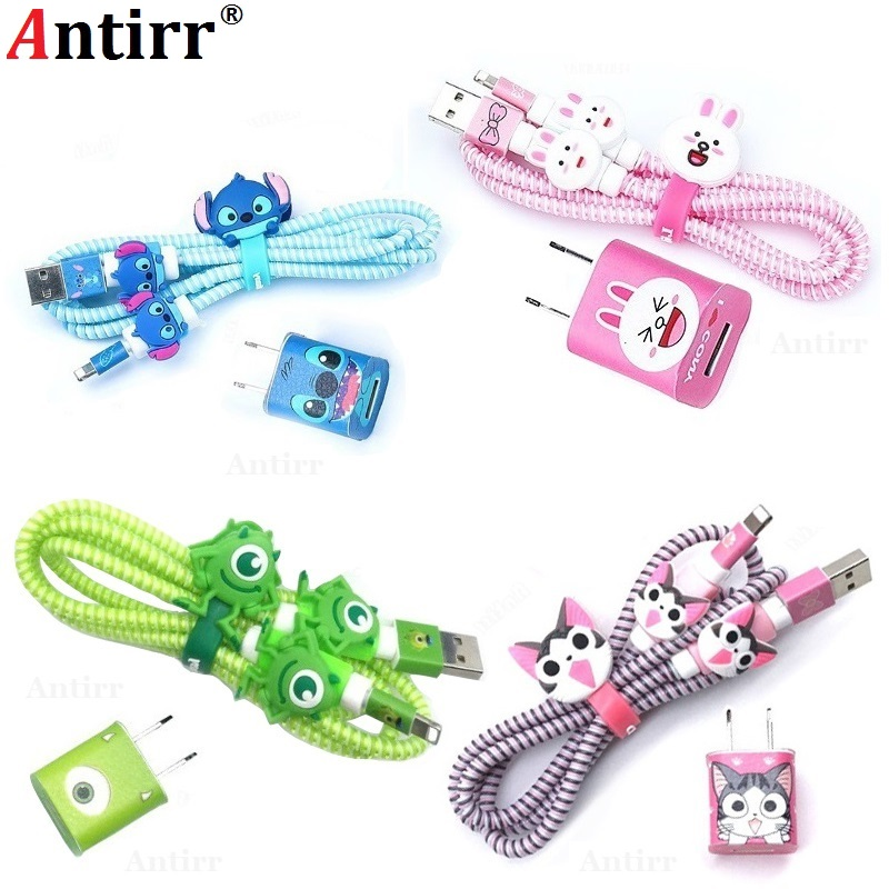 Lovely Cartoon USB Cable Winder DIY Charger Stickers Protective Case Cord Protection Sleeve Wire Cover 8 Pin Data Line Protector