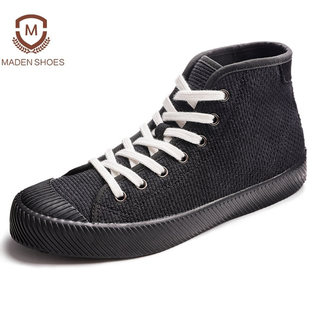 Maden 2018 Frühlingsmode Ananas Streifen Männer Vulkanisierte Schuhe  Vintage Stil Martin Tuch Freizeitschuhe High Top Canvas 71fe57de35