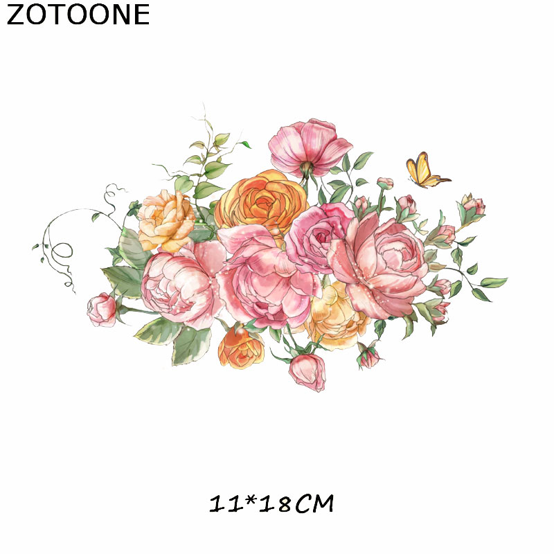 ZOTOONE Flower Patches Iron On Transfers For Girl Clothes DIY Dresses Heat Vinyl Transfer A level Washable Clothes Stickers E in Patches from Home Garden