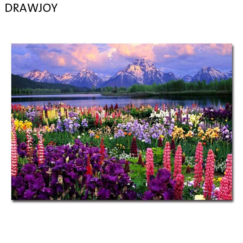 DRAWJOY Incorniciato Paesaggio Immagine Pittura A Olio di DIY Dai Numeri Pittura e Calligrafia Home Decor Wall Art GX21019 40x50 cm