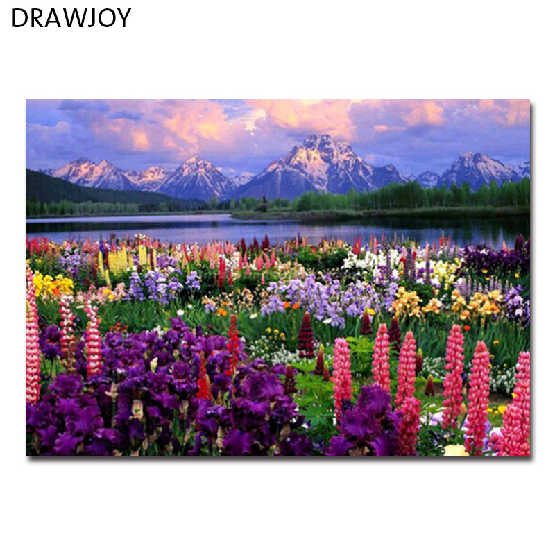 DRAWJOY Framed Landscape Picture DIY Oil Painting By Numbers
