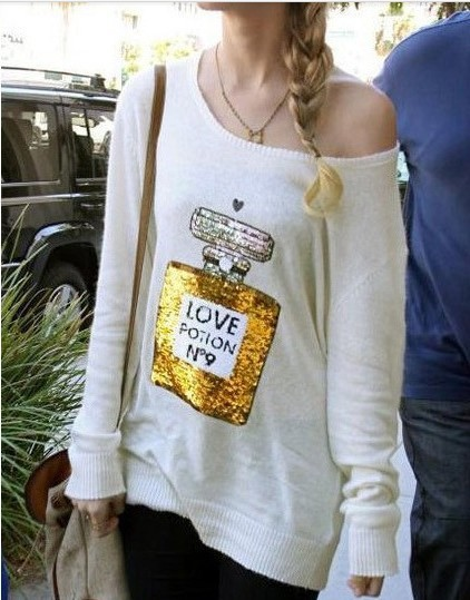 womens lady Wildfox Couture Love Potion NO.9 Sweater with perfume bottle Sequin casual tops shirts top shirt Cream white black