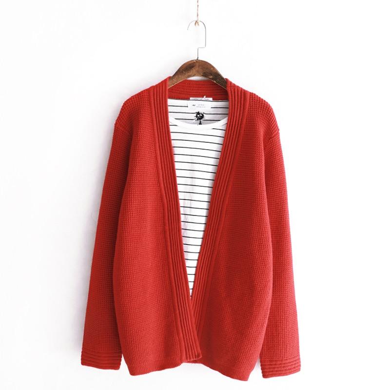 Longue Taille Point Rouge Solide Décontracté V Femmes Manche kaki Coton Hiver Tricot rouge Kaki Beige En Automne Col Grande Ouvert Vêtements Pulls Cardigans Y0UdI0q
