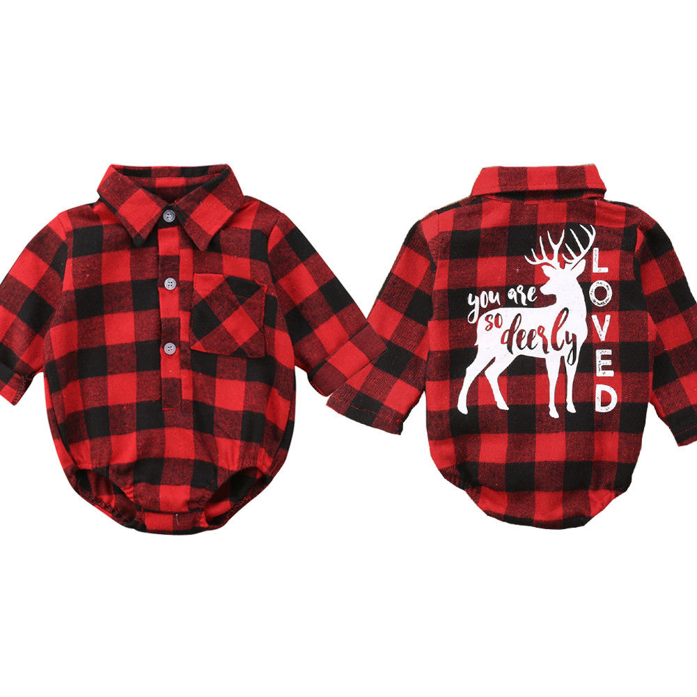 US Christmas Newborn Kids Baby Boy Girl Xmas Cute Plaid Romper Outfits Clothes
