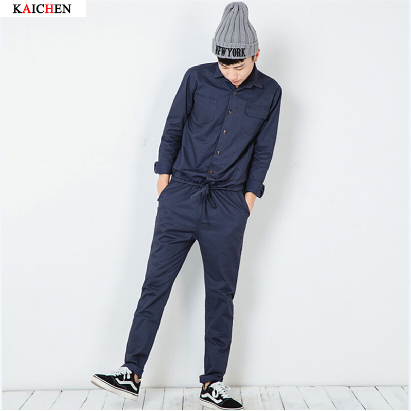 Mens Jumpsuit Fashion Long Sleeved Overalls Male Elegant Cool Overalls Slim Fit Pants Hip Hop Trousers