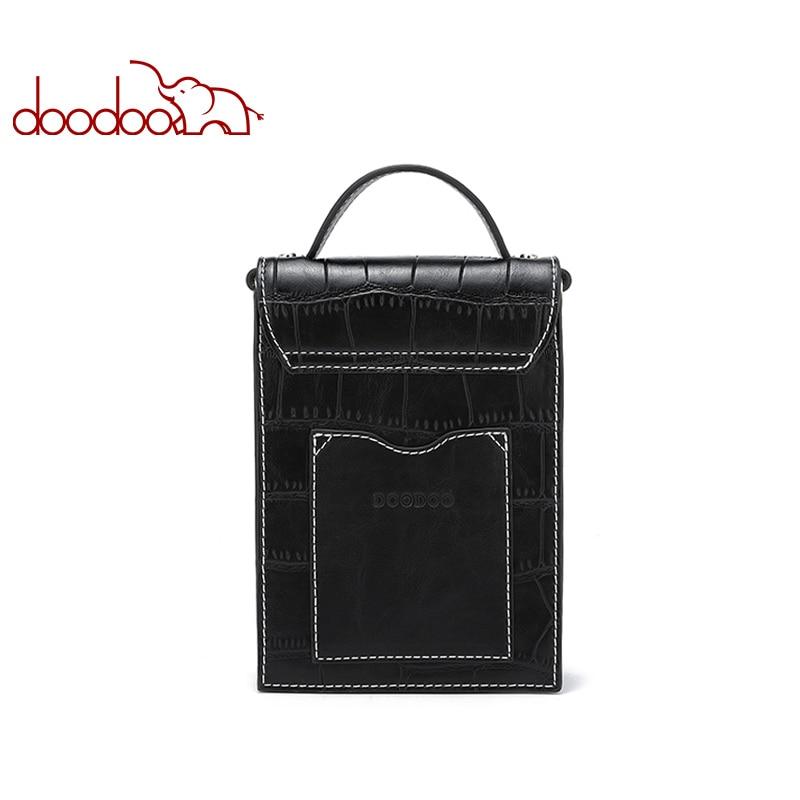 DOODOO Brand Women Shoulder Crossbody Bags Ladies Crocodile Texture Pattern Phone Bag 2018 Chain Female Messenger Bags 2 Colors