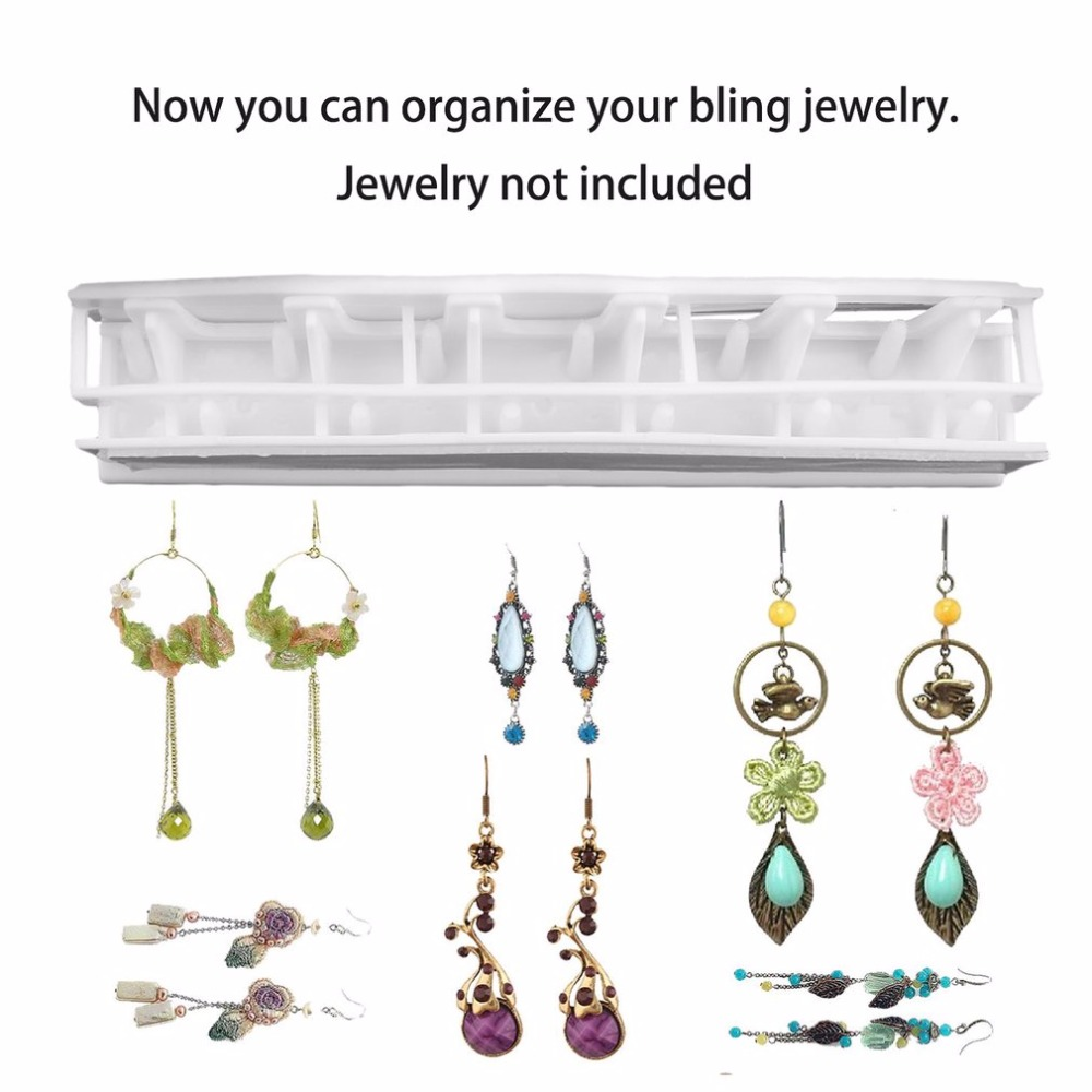 Adhesive Jewelry earring necklace hanger holder Organizer packaging Display jewelry rack sticky hooks Wall Mount stand tray para in Storage Holders Racks from Home Garden