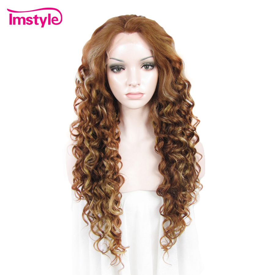 Imstyle Lace Front Wigs Long Curly Blonde Wigs For Women Two Tone Mixed Color Heat Resistant Fiber Synthetic Lace Wig Natural