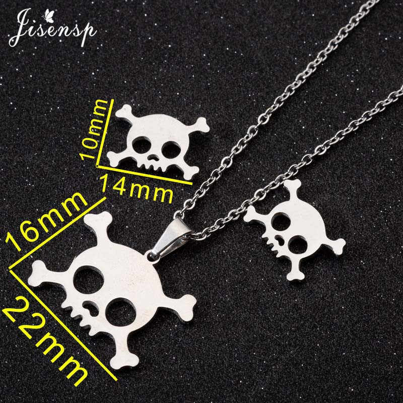 Jisensp Punk szkielet wisiorek naszyjnik kobiety dzieci zestaw biżuterii ze stali nierdzewnej czaszka naszyjniki Choker mężczyźni prezenty na Halloween collane