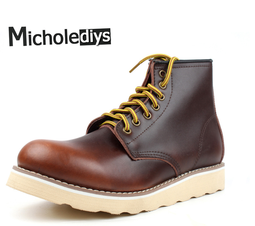 2017 Micholediys Handmade All-matcing Vintage lace up Leather Mens Platform Brown Shoes Red Breathable wing Work Shoes USA pwb 40pcs 304 stainless steel phillips round head flat tail self tapping screws with collar m2 m2 6 m3 m4 4 20mm screw