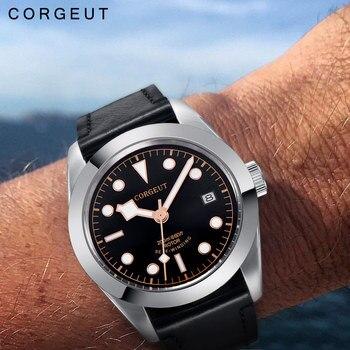 Luxury Brand Corgeut Military Schwarz Bay Mechanical Watch Men Automatic Sport Design Clock Leather Mechanical Wrist Watches
