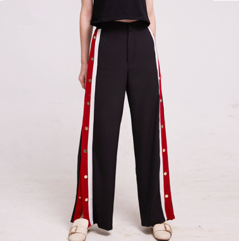 2018 New fashion Spring Pants Women Side Button Stripe Sweatpants Female Casual Patchwork Zipper Long Trousers S/M/L