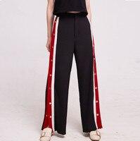 2018 New fashion Spring Pants Women Side Button Stripe Sweatpants Female Casual Patchwork Zipper Long Trousers S/M/L