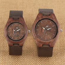 Wooden Couple Watch Quartz Leather Band Handmade Walnut Wood Watches